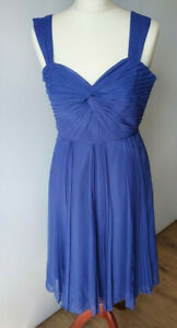 Monsoon Party Prom Dress Fit Flare Pleated Purple Sweetheart Neck Evening Size 8
