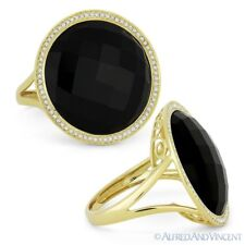 Cocktail Ring in 14k Yellow Gold 9.90 ct Checkerboard Onyx & Diamond Right-Hand