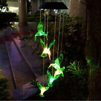 Color Changing LED Solar Powered Hummingbird Wind Chime Light Yard Garden Decor