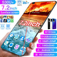 """7.2"""" S30U+ 12G+512GB Smartphone Unlocked Android 10 16+32Mp 10Core Mobile Phone"""