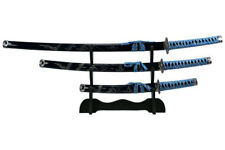 3 pcs Japanese Samurai Katana Dragon Sword Set with Blue Scabbard w/ Stand