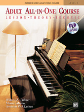 ALFRED ADULT ALL-IN-ONE PIANO COURSE-LESSON/THEORY/TECHNIC MUSIC BOOK 1/DVD-NEW!