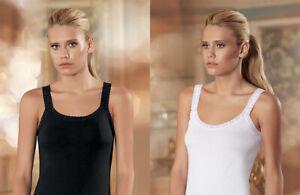 Damen Unterhemd Spaghettiträger Ärmellos Top Oberteil Shirt Spitze Schwarz Weiß