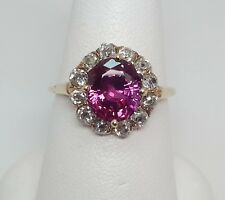 YELLOW GOLD PINK SAPPHIRE AND DIAMOND RING - R9308