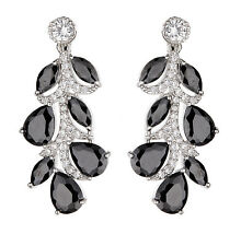 CLIP ON EARRINGS - silver luxury drop with black stones & clear crystals - Neo