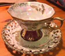 Royal Sealy JAPAN PEDESTAL Cup & Saucer PURPLE & GOLD IRIDESCENT REticulate