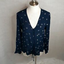Rails Size M Beaux Ruffle Waist Blouse Navy White Butterflies
