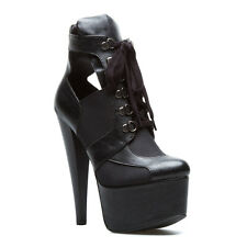 NEW Sexy Cutout Leather & Suede Lace-up Platform Bootie Heel by Paper Fox Sz 7.5