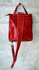 Genuine Leather Ladies Backpack Style Purse Handbag, By: DANIER Collections, Red