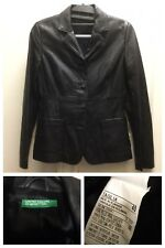 EUC UNITED COLORS OF BENETTON LEATHER JACKET ITALY SZ 40