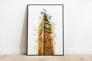 Watercolour Splash Big Ben Print A4 A3 A2 Maxi Wall Art Decor London 5072