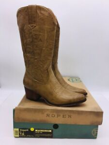 Roper Women's Nettie Mid-Calf Western Boots Tan Faux Leather US 7.5M