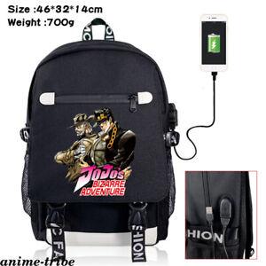 JOJO Bizzare Adventure Rucksack USB Charge Backpack Boys Schoolbag Zip Laptopbag