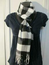 Men's Winter Scarf Check Plaid Black White Cashmere-Feel Soft Warm Unisex