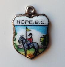 Vintage enamel HOPE B.C. Canada silver travel souvenir bracelet shield charm