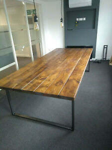 Large Conference table, scaffolding boards, rustic, metal frame