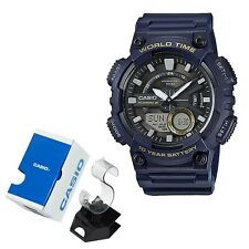Casio Men Analog Digital Watch Quartz 100m World Time Blue Resin AEQ110W-2AV NIB