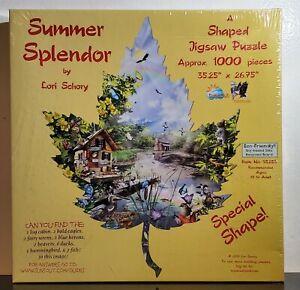 "New Summer Splendor Leaf Shaped 1000 Piece Jigsaw Puzzle 35.25"" X 26.75"" Sealed"