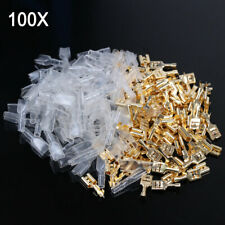 100 PCS 4.8mm Gold Brass Car Speaker Female Spade Terminal Wire Connector New