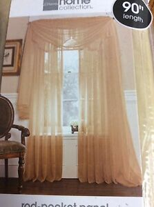 JC Penny Lisette Rod Pocket Tailored Panel Soft Gold 60 x 90 Panel Only New Y4