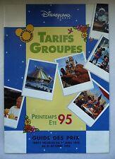RARE GUIDE DES PRIX DISNEYLAND PARIS 1995 / TARIFS GROUPES