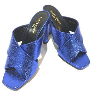 UNUSED YVES SAINT LAURENT Metallic Leather Heels Sandals Blue 472032
