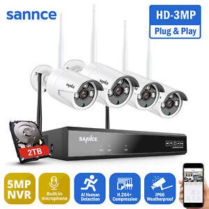 SANNCE 3MP Wirless WLAN 8CH 5MP H.264+NVR CCTV Audio Camera System Kit IP66 2TB