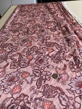 2.45 Metres Of Dusky Pink Floral Polyester Fabric