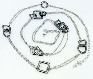 Lia Sophia Kiam JENNY Hematite Stations Longer Style Necklace