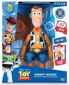 Toy Story Talking Sheriff Woody Doll Thinkway Figure 25th Anniversary Pixar 16""