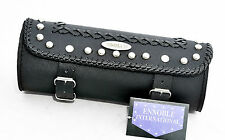 MOTORCYCLE TOOL ROLL BAG NEW, LEATHER MOD.RA2637 BLACK STUDS