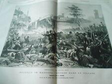 Grande Gravure 1863 - Bataille de Magenta entrée dans le village
