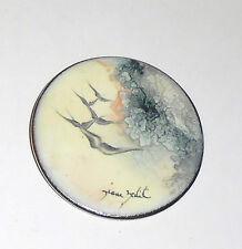 Enamel Hand Painted Artisan Signed Pendant, Birds in Stormy Sky, Silver Metal