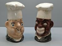 VINTAGE 1950'S BLACK & WHITE CHEF CERAMIC SALT & PEPPER SHAKERS SET