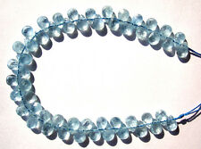 Natural Aquamarine Faceted Flat Teardrop Beads 6×8mm
