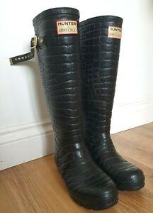 Hunter x JimmyChoo Moc Croc Black Limited Edition Rare Festival Wellies UK 4