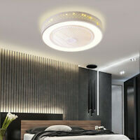 "20.5"" Invisible Ceiling Fan Lamp w/ Light Remote Control LED Dimmable Chandelier"