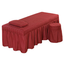"Massage Table Skirt Sheet Pillowcase Stool Cover Beauty Linen 73x28"" Red_2"