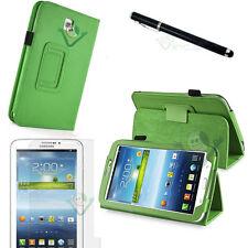Pellicola+Pennino+Custodia pelle VERDE Stand per Samsung Galaxy Tab 3 7.0 7 T210