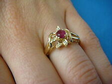 14K YELLOW GOLD RUBY & DIAMONDS SMALL BEAUTIFUL LADIES RING 2.7 GRAMS, SIZE 6.25