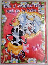Carte de Voeux + Envelopee - Humour (Vache)