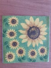 4 x Single Paper Napkins Decoupage Craft and Table Big Sunflower 146