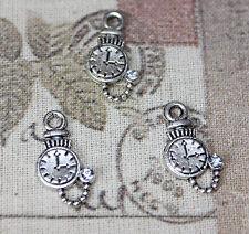 Cute mini Alice In Wonderland pocket watch charms with rhinestone x10