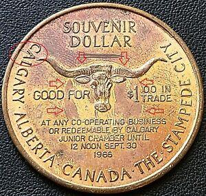 1966 Calgary Stampede $1 Trade Dollar - Incused Circle, Die Crack Variety