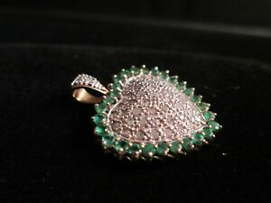 Genuine Pave Diamond & Emerald 10K Two Tone White & Yellow Gold Heart Pendant