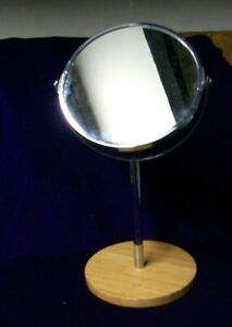 14 INCH/MAGNIFYING AND STANDARD SHAVING MIRROR/PINE BASE