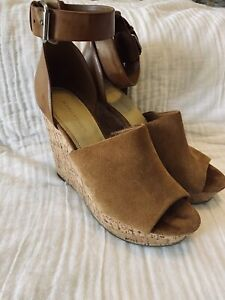 marc fisher wedges, camel wedges, leather wedges,boho, Summer