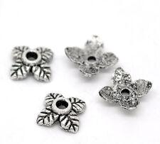 50 pièces Perle Fleur Coupelles / caps / Calottes 6mm x 6mm Argenté perles