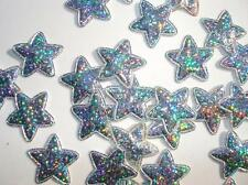 50 Silver Hologram Shimmer Applique/bow/trim/craft/Shiny/padded/holiday L28-Star
