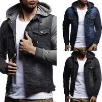 New Mens Long Sleeves Hooded Hoodies Denim Jacket Slim Fit Sweatshirts Tops US